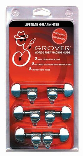 grover 305c rotomatic 18 1 guitar machine head tuners set of 6 3x3 chrome. Black Bedroom Furniture Sets. Home Design Ideas