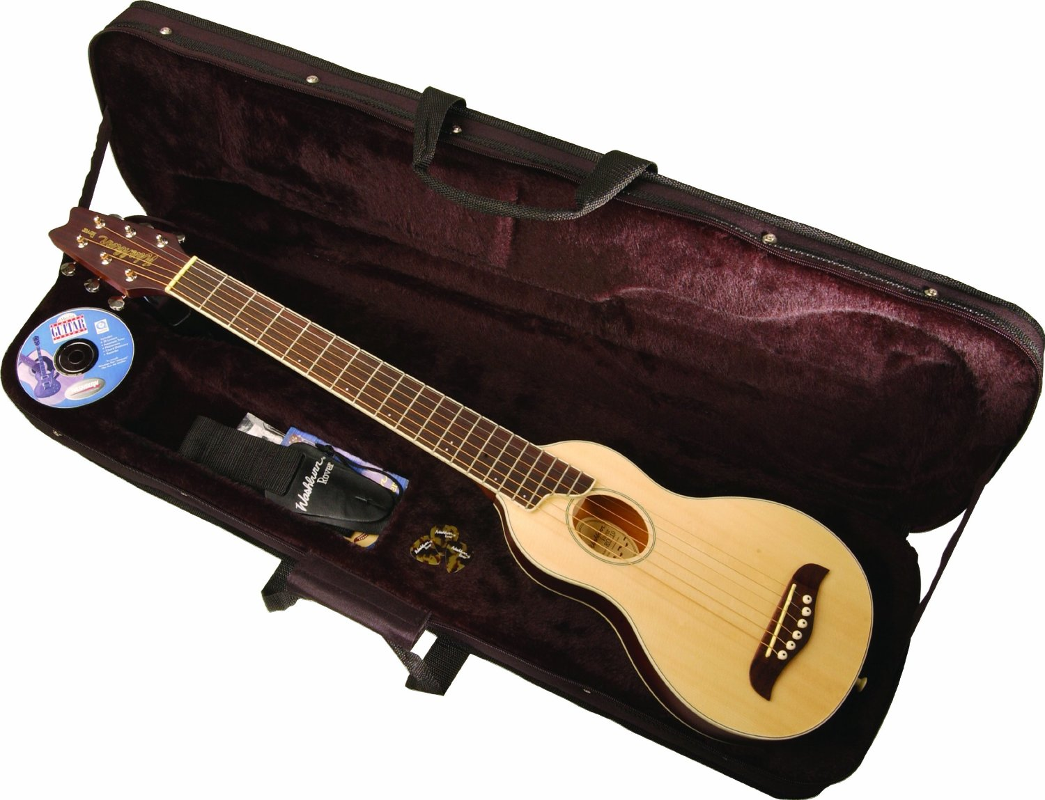 washburn ro10 rover steel string travel acoustic guitar package w case natural ebay. Black Bedroom Furniture Sets. Home Design Ideas