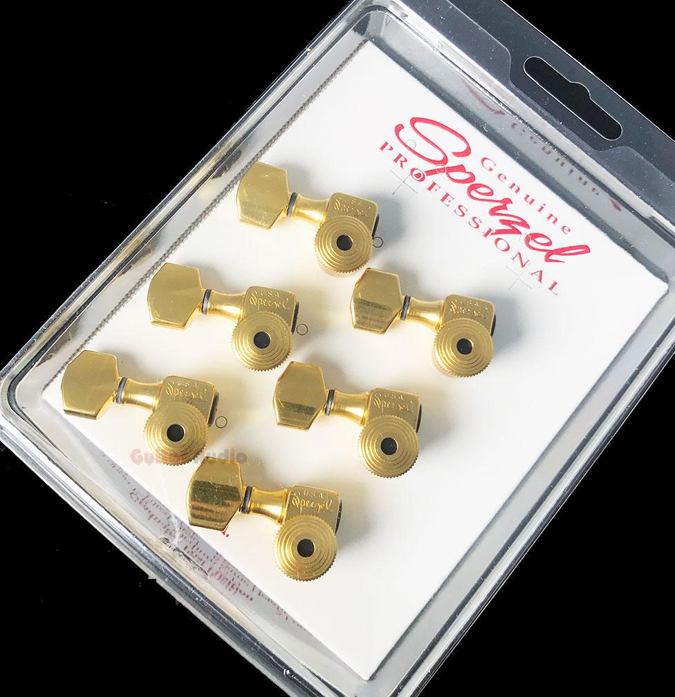 sperzel 6 in line left handed trimlok locking guitar tuners pegs gold plated ebay. Black Bedroom Furniture Sets. Home Design Ideas
