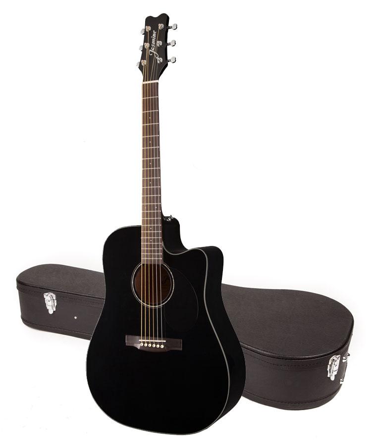 jasmine by takamine jd93ce blk black dreadnought acoustic electric guitar w case ebay. Black Bedroom Furniture Sets. Home Design Ideas